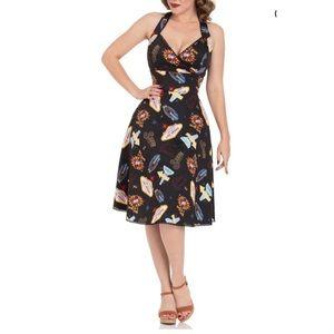 Voodoo Vixen Lucy Vegas Print Flare Dress Size S